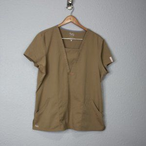 NRG by Barco Tan Scrub Blouse sz XL